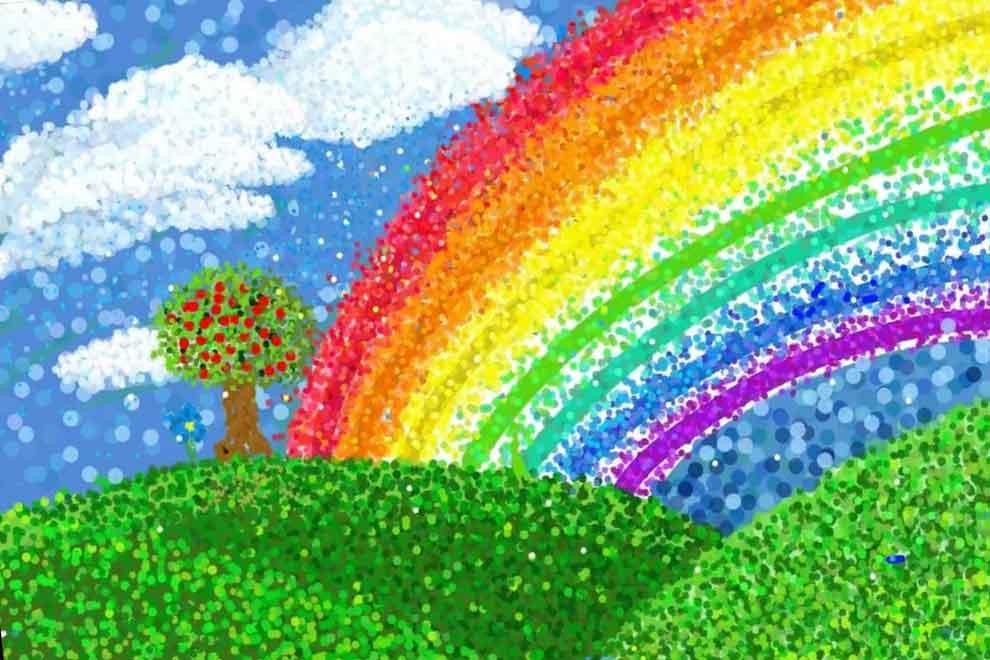 Изображаем радугу ватными палочками