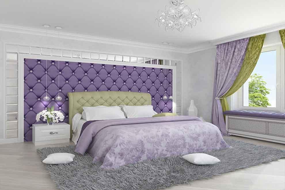 Фиолетовый в спальне