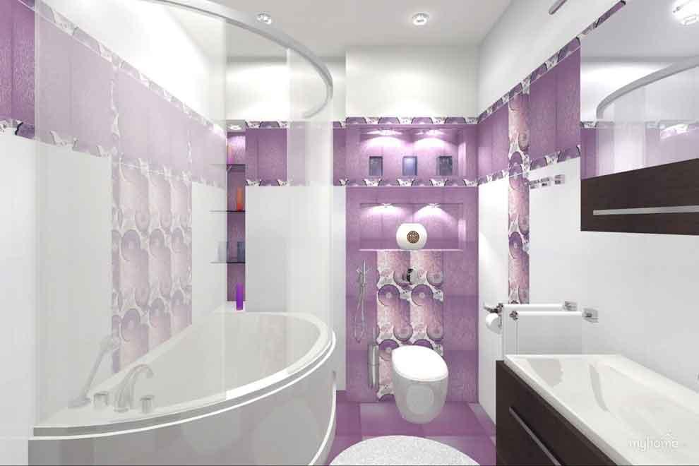 Светлый фиолетовый в ванной